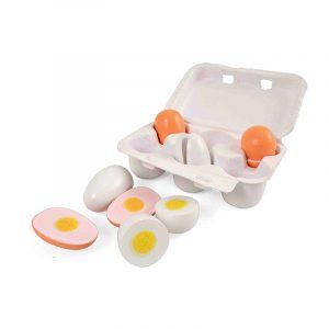 Καρτέλα με ξύλινα αυγά