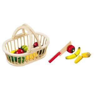 Ξύλινα φρούτα με καλάθι